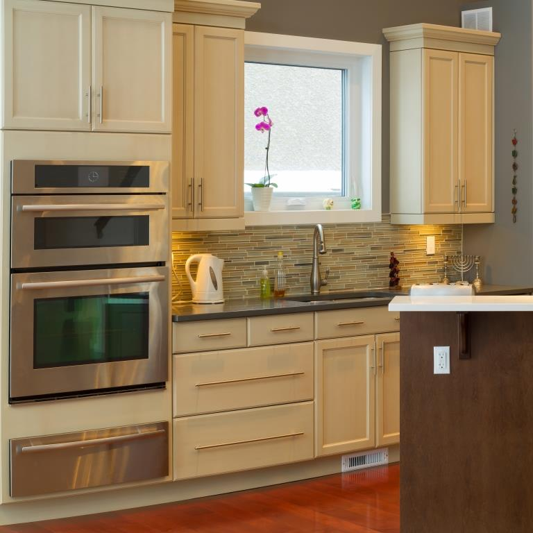 early 2000s kitchen with long slender cabinet pulls