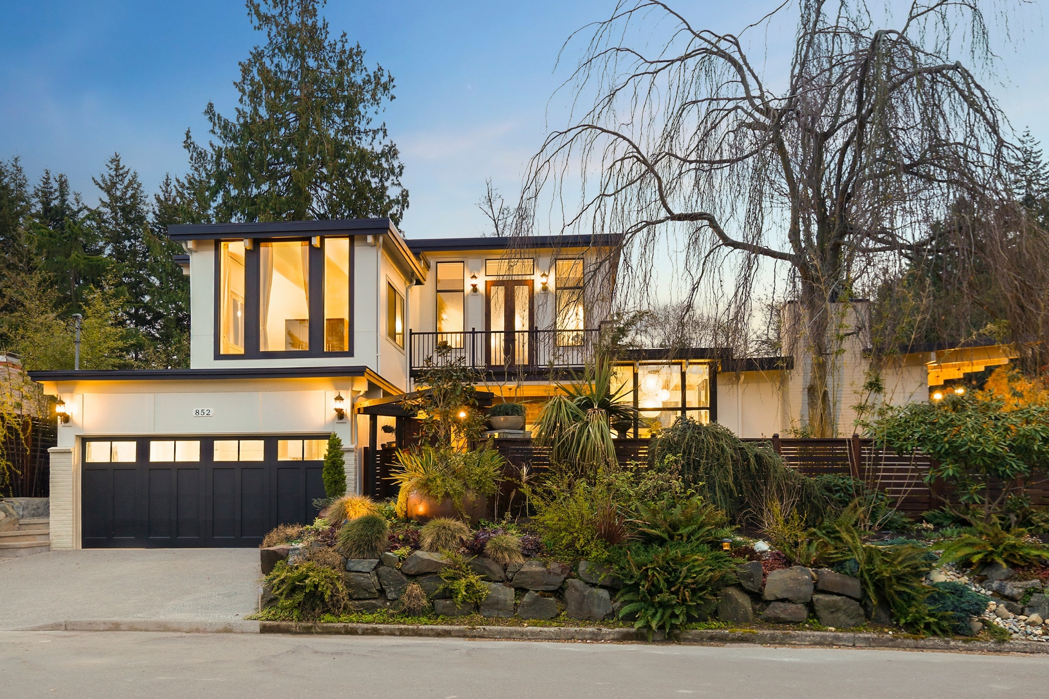 Modern style home at dusk