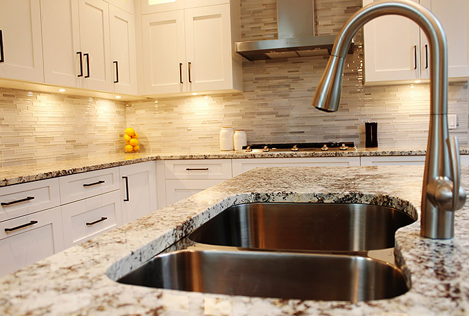 shaker cabinets and stone countertop