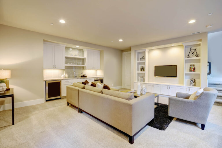 Basement Entertainment Area Built-In Shelving and Wet Bar area